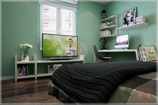 thiết kế nội thất phòng ngủ cho bé gái mệnh hỏa