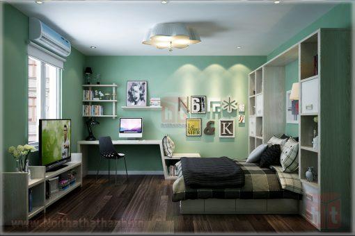 thiết kế nội thất phòng ngủ cho bé gái mệnh hỏa 3